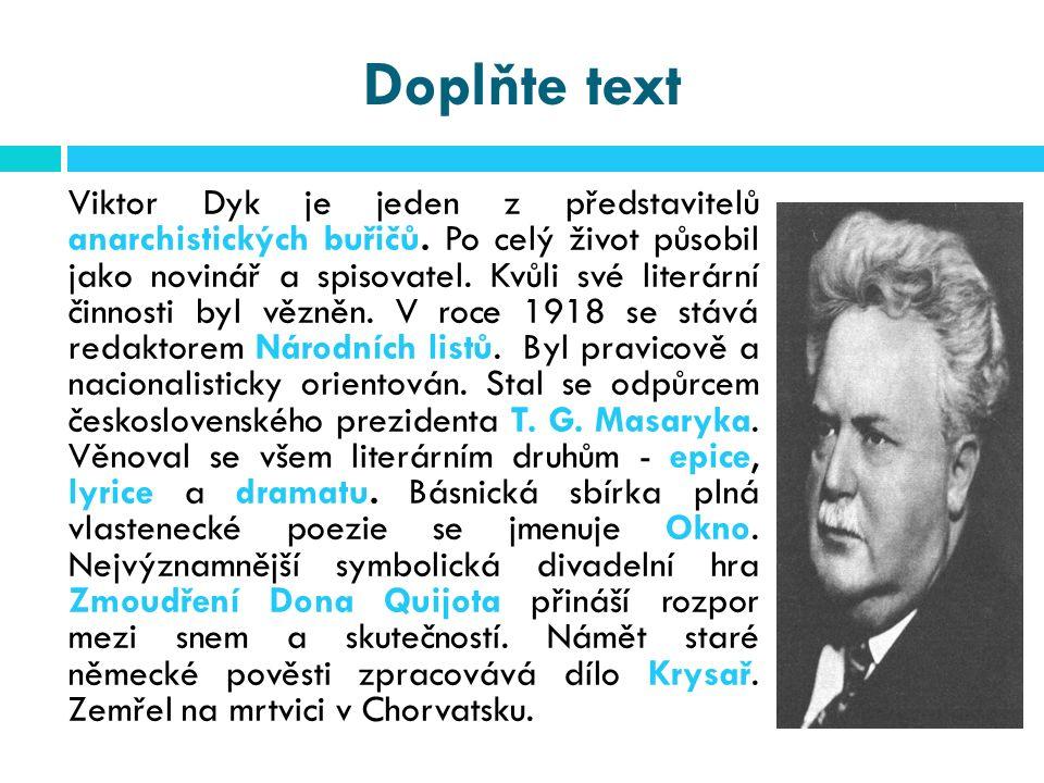 Použité zdroje Literatura 1.Prokop, V. Čítanka k Literatuře 19.