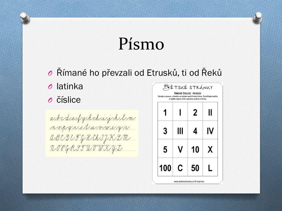 Písmo O Římané ho převzali od Etrusků, ti od Řeků O latinka O číslice