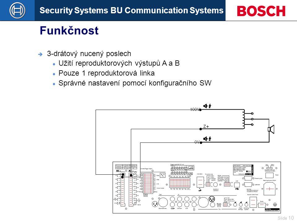 Security Systems BU Communication Systems Slide 10 Funkčnost  3-drátový nucený poslech Užití reproduktorových výstupů A a B Pouze 1 reproduktorová linka Správné nastavení pomocí konfiguračního SW