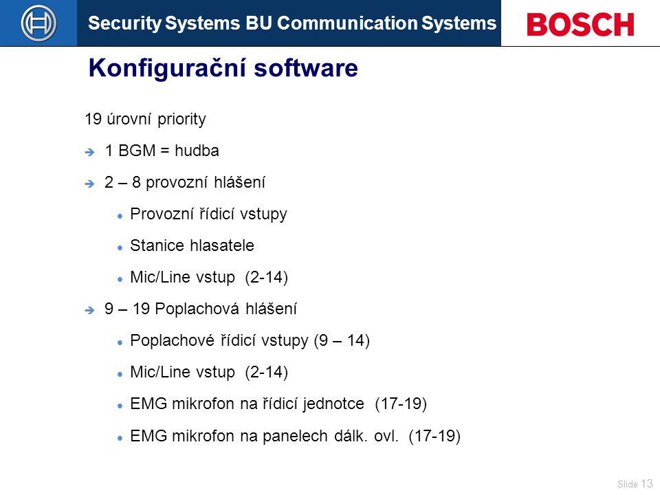 Security Systems BU Communication Systems Slide 13 Konfigurační software 19 úrovní priority  1 BGM = hudba  2 – 8 provozní hlášení Provozní řídicí vstupy Stanice hlasatele Mic/Line vstup (2-14)  9 – 19 Poplachová hlášení Poplachové řídicí vstupy (9 – 14) Mic/Line vstup (2-14) EMG mikrofon na řídicí jednotce (17-19) EMG mikrofon na panelech dálk.