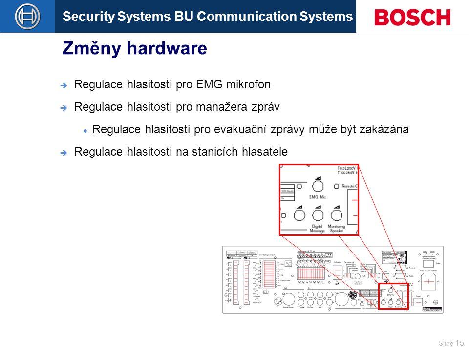 Security Systems BU Communication Systems Slide 15 Změny hardware  Regulace hlasitosti pro EMG mikrofon  Regulace hlasitosti pro manažera zpráv Regulace hlasitosti pro evakuační zprávy může být zakázána  Regulace hlasitosti na stanicích hlasatele