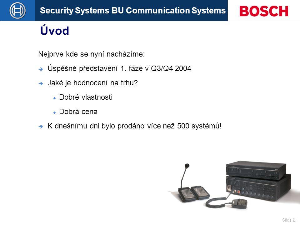 Security Systems BU Communication Systems Slide 2 Úvod Nejprve kde se nyní nacházíme:  Úspěšné představení 1.