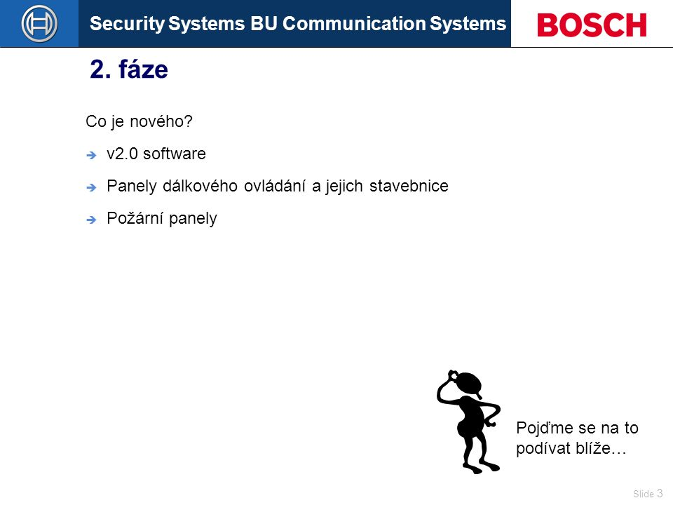 Security Systems BU Communication Systems Slide 14 Konfigurační software Action programming  Pre Emergency zprávy Mess A Repeated t Mess BMess 1 Template 1 Delay Pre Message