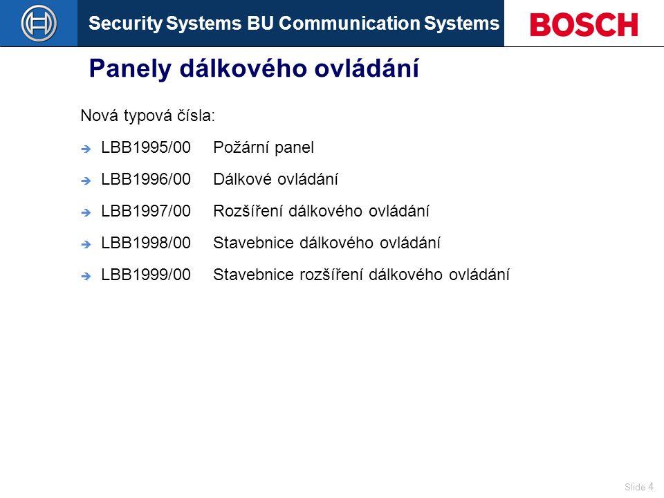 Security Systems BU Communication Systems Slide 4 Panely dálkového ovládání Nová typová čísla:  LBB1995/00Požární panel  LBB1996/00Dálkové ovládání  LBB1997/00Rozšíření dálkového ovládání  LBB1998/00Stavebnice dálkového ovládání  LBB1999/00Stavebnice rozšíření dálkového ovládání