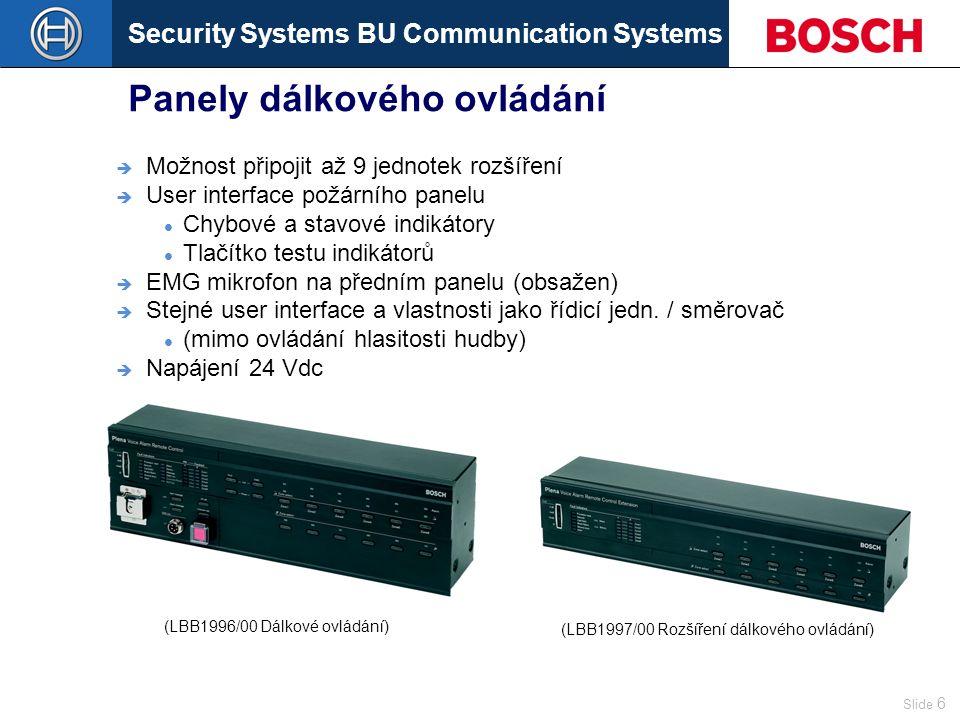 Security Systems BU Communication Systems Slide 6 Panely dálkového ovládání  Možnost připojit až 9 jednotek rozšíření  User interface požárního panelu Chybové a stavové indikátory Tlačítko testu indikátorů  EMG mikrofon na předním panelu (obsažen)  Stejné user interface a vlastnosti jako řídicí jedn.