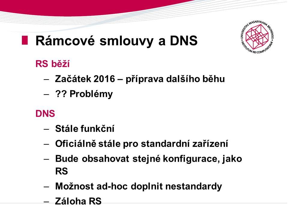 Rámcové smlouvy a DNS RS běží –Začátek 2016 – příprava dalšího běhu –?? Problémy DNS –Stále funkční –Oficiálně stále pro standardní zařízení –Bude obs