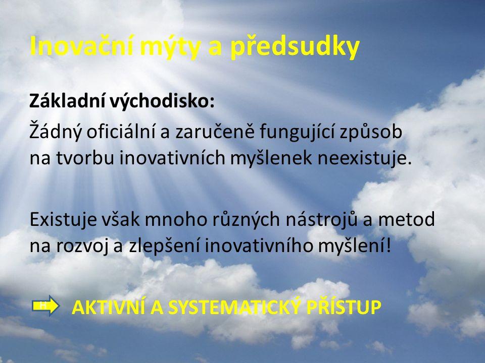 """Dnešní program Motto: """"Každý může být inovátorem!"""" 1)Inovační mýty a předsudky 2)Nástroje na rozvoj inovativního myšlení 3)Prostor pro otázky"""
