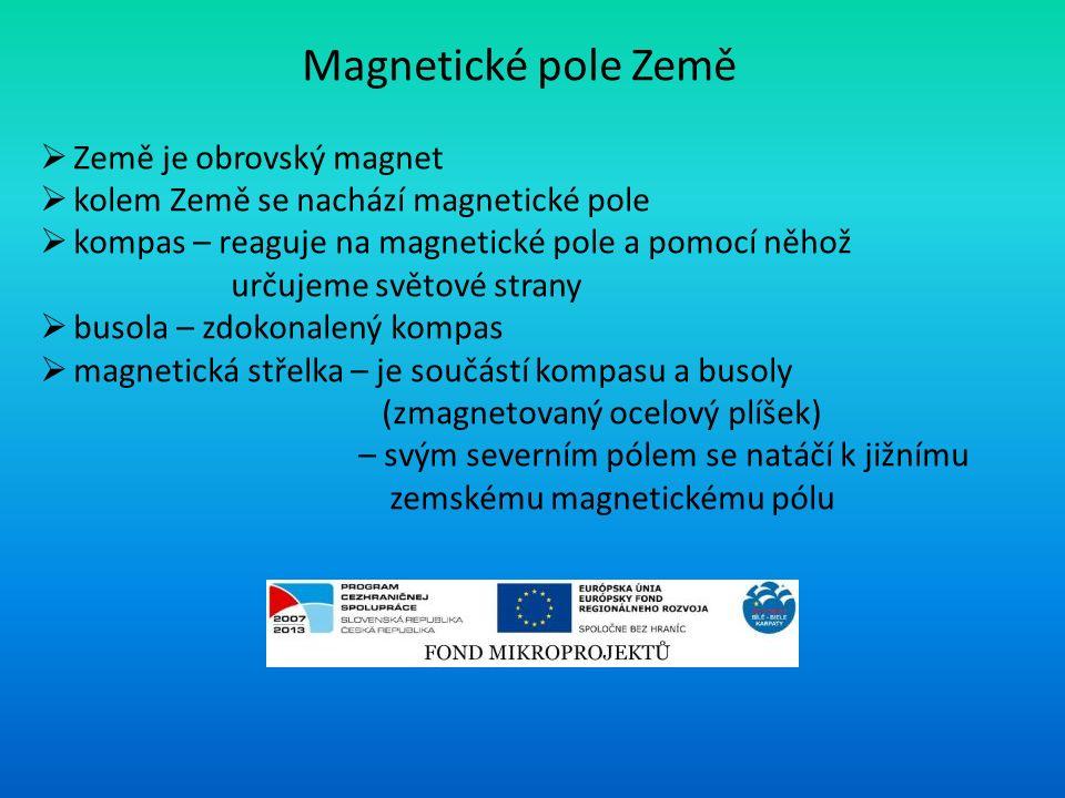 Magnetické pole Země  Země je obrovský magnet  kolem Země se nachází magnetické pole  kompas – reaguje na magnetické pole a pomocí něhož určujeme světové strany  busola – zdokonalený kompas  magnetická střelka – je součástí kompasu a busoly (zmagnetovaný ocelový plíšek) – svým severním pólem se natáčí k jižnímu zemskému magnetickému pólu