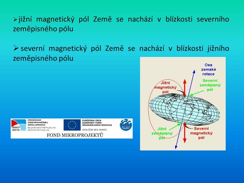  jižní magnetický pól Země se nachází v blízkosti severního zeměpisného pólu  severní magnetický pól Země se nachází v blízkosti jižního zeměpisného pólu