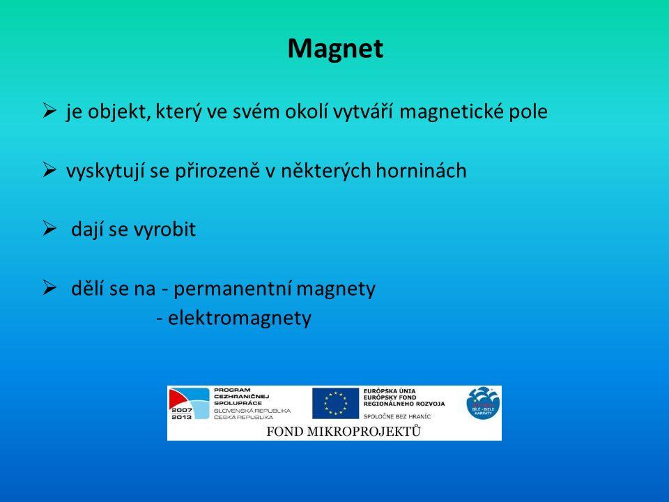 Magnet  je objekt, který ve svém okolí vytváří magnetické pole  vyskytují se přirozeně v některých horninách  dají se vyrobit  dělí se na - permanentní magnety - elektromagnety