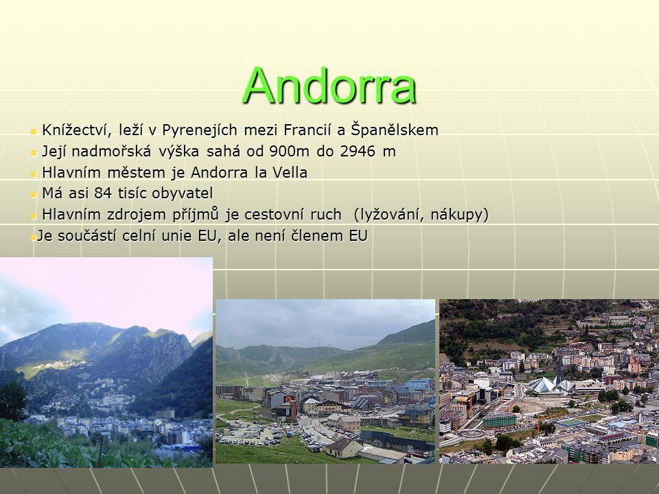 Andorra Knížectví, leží v Pyrenejích mezi Francií a Španělskem Knížectví, leží v Pyrenejích mezi Francií a Španělskem Její nadmořská výška sahá od 900m do 2946 m Její nadmořská výška sahá od 900m do 2946 m Hlavním městem je Andorra la Vella Hlavním městem je Andorra la Vella Má asi 84 tisíc obyvatel Má asi 84 tisíc obyvatel Hlavním zdrojem příjmů je cestovní ruch (lyžování, nákupy) Hlavním zdrojem příjmů je cestovní ruch (lyžování, nákupy) Je součástí celní unie EU, ale není členem EU Je součástí celní unie EU, ale není členem EU
