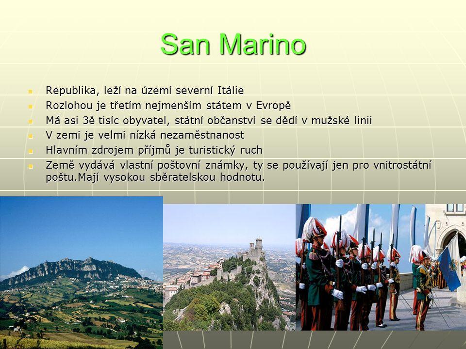 San Marino Republika, leží na území severní Itálie Republika, leží na území severní Itálie Rozlohou je třetím nejmenším státem v Evropě Rozlohou je třetím nejmenším státem v Evropě Má asi 3ě tisíc obyvatel, státní občanství se dědí v mužské linii Má asi 3ě tisíc obyvatel, státní občanství se dědí v mužské linii V zemi je velmi nízká nezaměstnanost V zemi je velmi nízká nezaměstnanost Hlavním zdrojem příjmů je turistický ruch Hlavním zdrojem příjmů je turistický ruch Země vydává vlastní poštovní známky, ty se používají jen pro vnitrostátní poštu.Mají vysokou sběratelskou hodnotu.