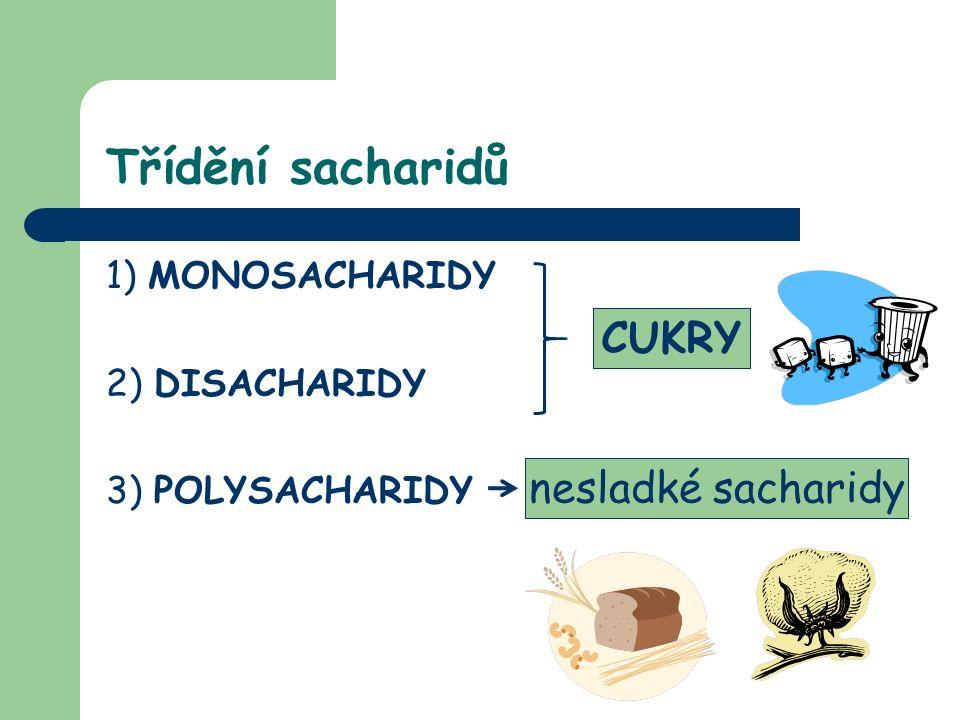 Třídění sacharidů 1) MONOSACHARIDY 2) DISACHARIDY 3) POLYSACHARIDY CUKRY nesladké sacharidy