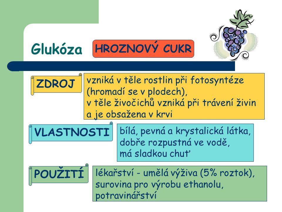 Glukóza HROZNOVÝ CUKR ZDROJ vzniká v těle rostlin při fotosyntéze (hromadí se v plodech), v těle živočichů vzniká při trávení živin a je obsažena v krvi VLASTNOSTI POUŽITÍ bílá, pevná a krystalická látka, dobře rozpustná ve vodě, má sladkou chuť lékařství - umělá výživa (5% roztok), surovina pro výrobu ethanolu, potravinářství
