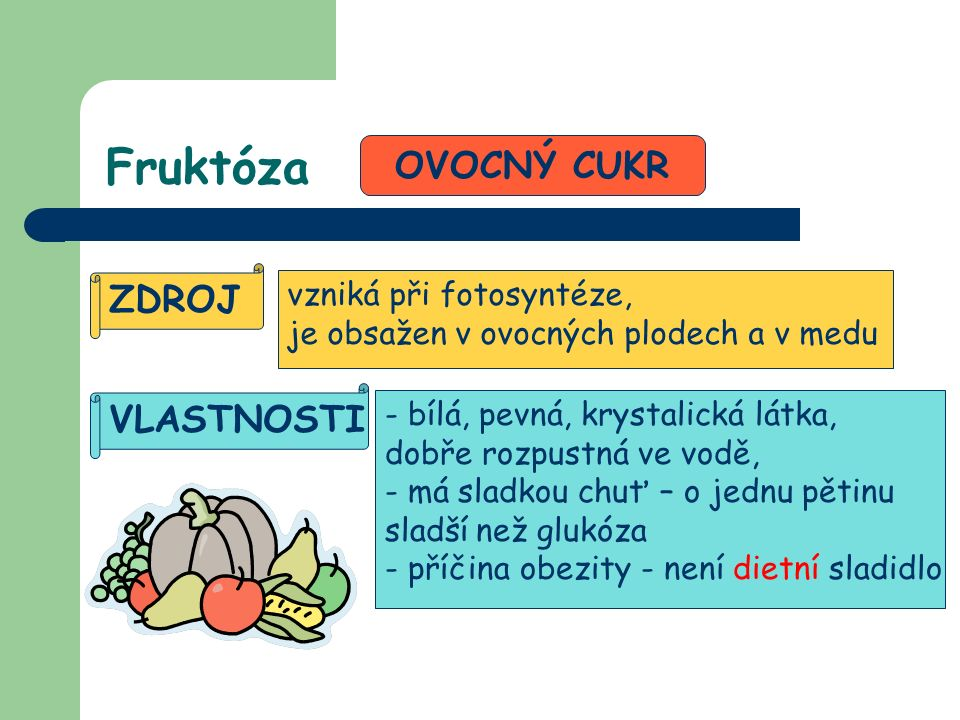 Fruktóza OVOCNÝ CUKR ZDROJ vzniká při fotosyntéze, je obsažen v ovocných plodech a v medu VLASTNOSTI - bílá, pevná, krystalická látka, dobře rozpustná ve vodě, - má sladkou chuť – o jednu pětinu sladší než glukóza - příčina obezity - není dietní sladidlo