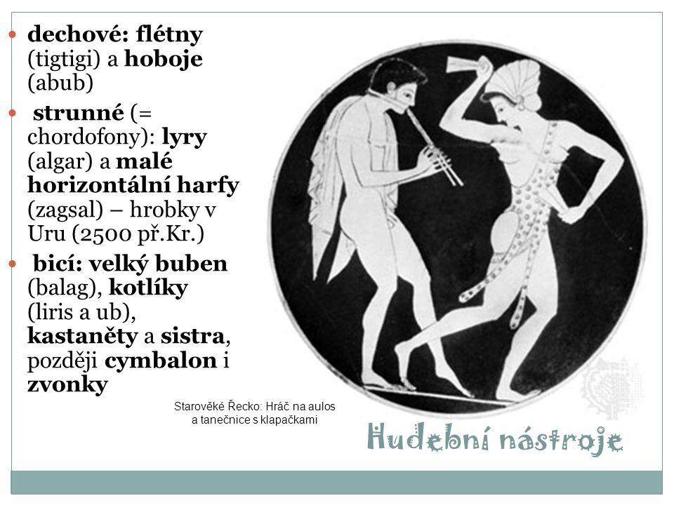 Úpadek rímského impéria V době úpadku hudba ztrácela své vznešené postavení a z hudebníků se stávali bezprávní tuláci  Petronius: Satirikon – s krutou sžíravostí zde líčí kitharisty a úpadek hudby  alexandrijští teoretikové (Nikomachos, Athénaios) vyzdvihovali původní význam hudby v Řecku
