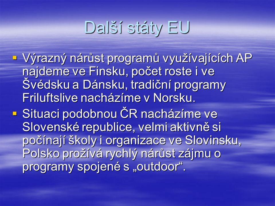 Další státy EU  Výrazný nárůst programů využívajících AP najdeme ve Finsku, počet roste i ve Švédsku a Dánsku, tradiční programy Friluftslive nacházíme v Norsku.