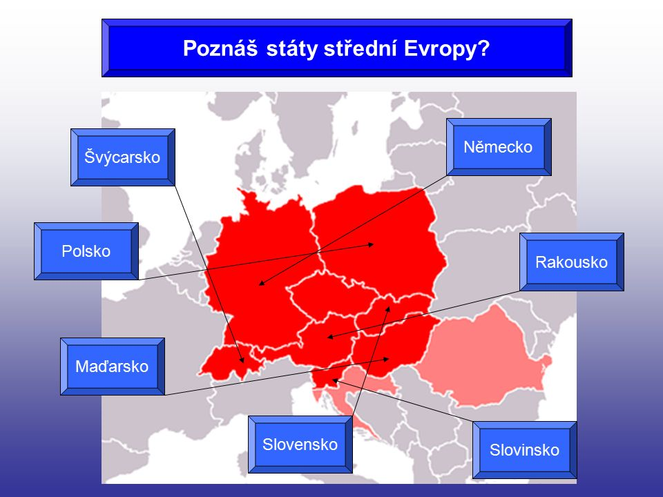 Poznáš státy střední Evropy? Švýcarsko Polsko Maďarsko Slovensko Slovinsko Rakousko Německo