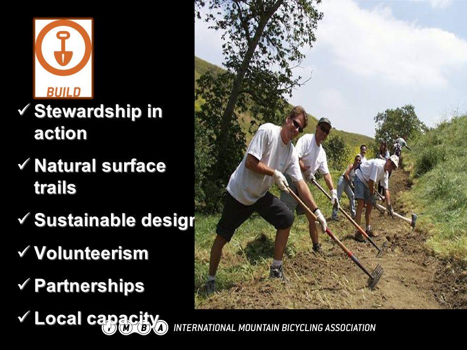 Stewardship in action Stewardship in action Natural surface trails Natural surface trails Sustainable design Sustainable design Volunteerism Volunteerism Partnerships Partnerships Local capacity Local capacity
