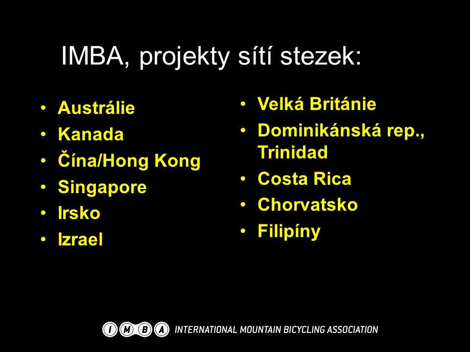 IMBA, projekty sítí stezek: Velká Británie Dominikánská rep., Trinidad Costa Rica Chorvatsko Filipíny Austrálie Kanada Čína/Hong Kong Singapore Irsko Izrael