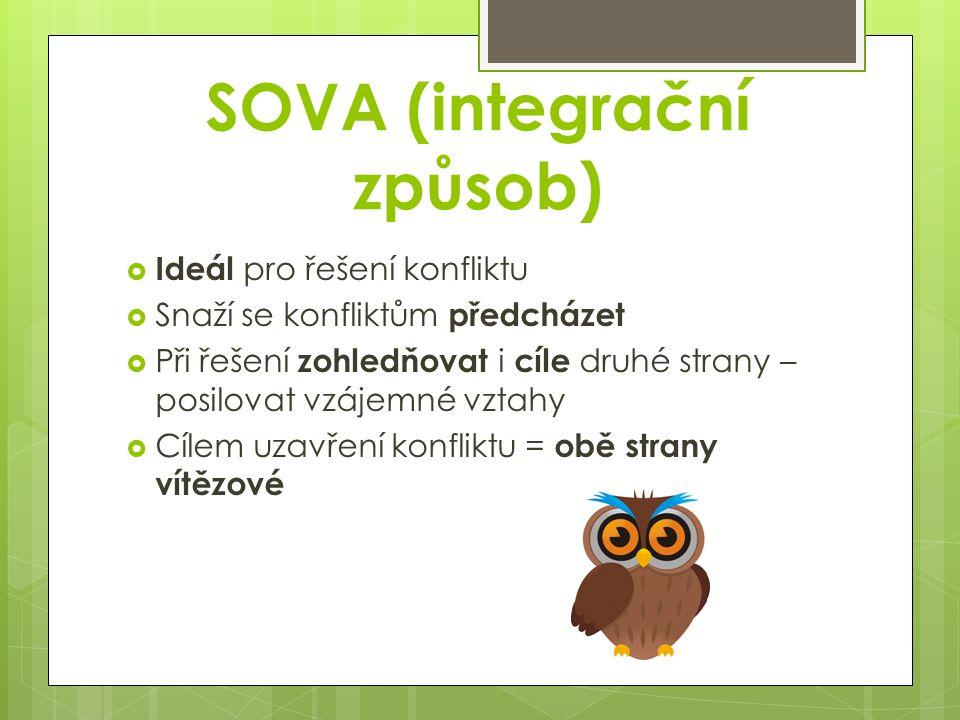 SOVA (integrační způsob)  Ideál pro řešení konfliktu  Snaží se konfliktům předcházet  Při řešení zohledňovat i cíle druhé strany – posilovat vzájem