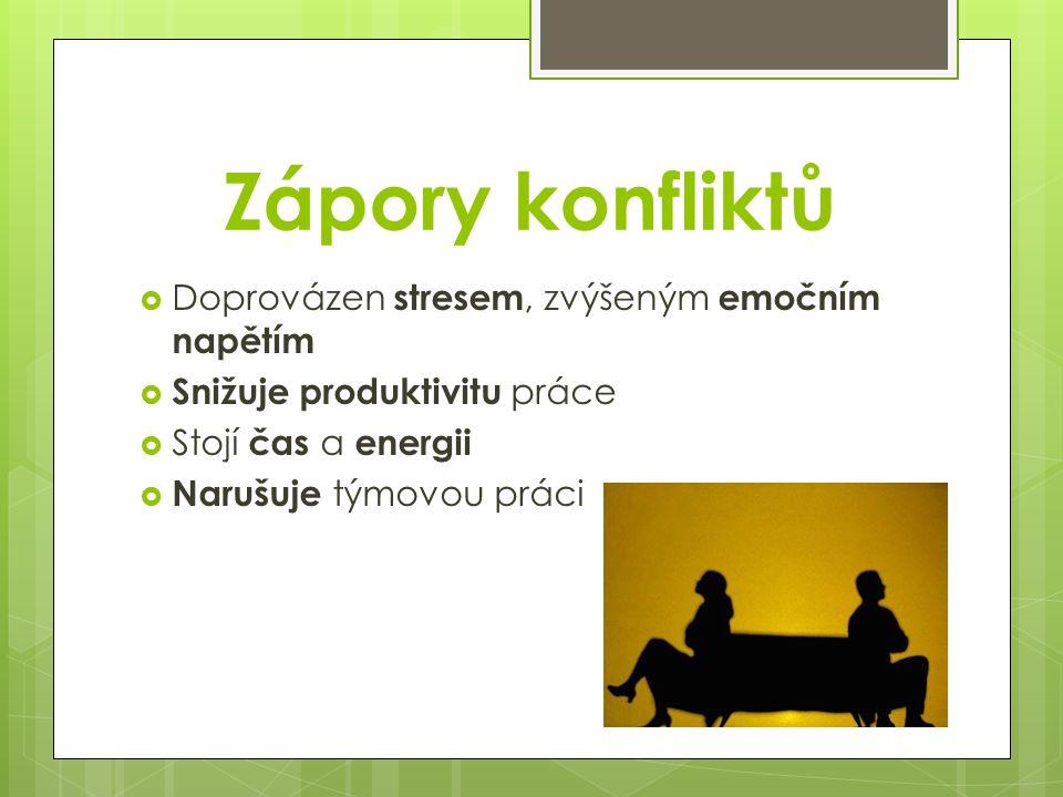 Zápory konfliktů  Doprovázen stresem, zvýšeným emočním napětím  Snižuje produktivitu práce  Stojí čas a energii  Narušuje týmovou práci
