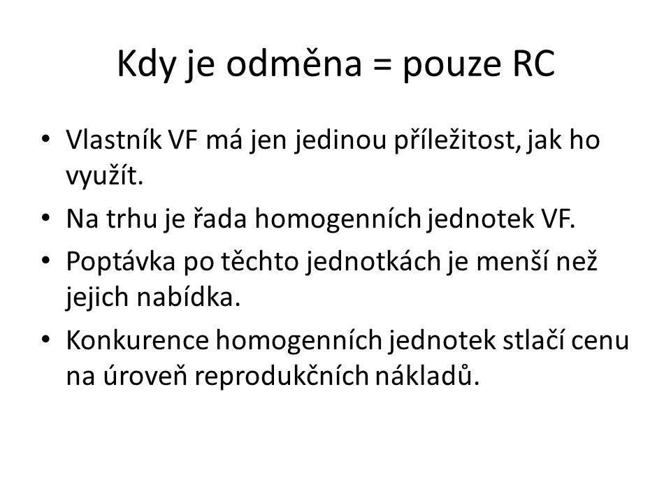 Kdy je odměna větší než RC Předpokládáme stále homogenní jednotky VF.