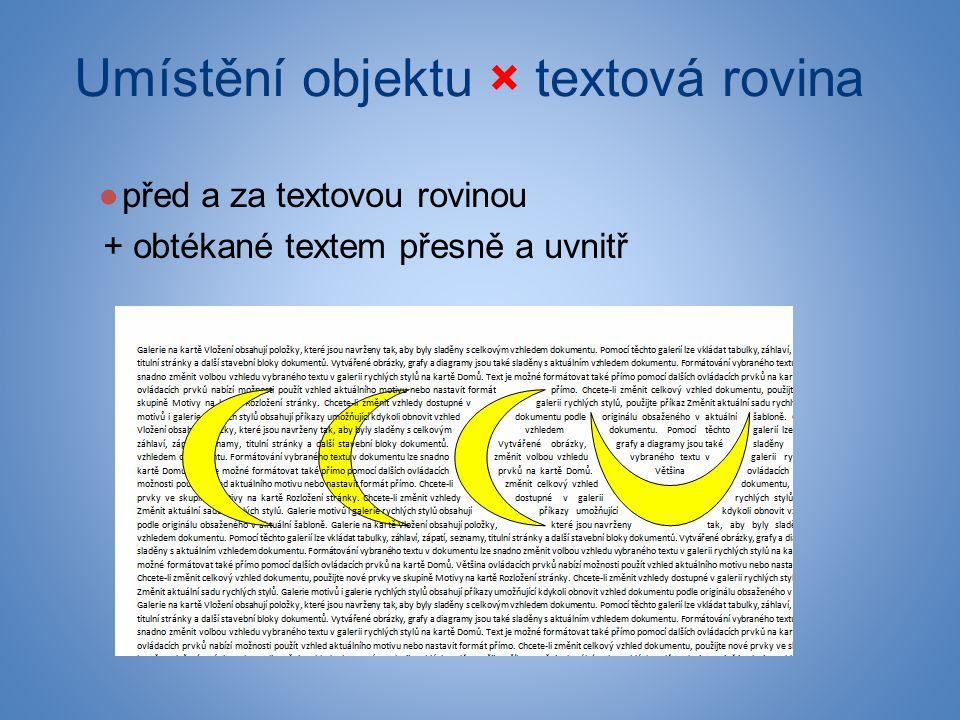 Umístění objektu × textová rovina ●před a za textovou rovinou + obtékané textem přesně a uvnitř