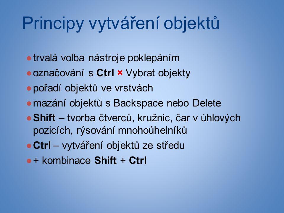 Principy vytváření objektů ●trvalá volba nástroje poklepáním ●označování s Ctrl × Vybrat objekty ●pořadí objektů ve vrstvách ●mazání objektů s Backspace nebo Delete ●Shift – tvorba čtverců, kružnic, čar v úhlových pozicích, rýsování mnohoúhelníků ●Ctrl – vytváření objektů ze středu ●+ kombinace Shift + Ctrl