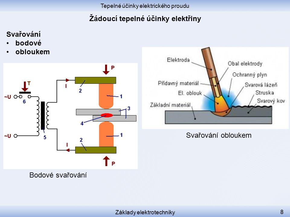 Tepelné účinky elektrického proudu Základy elektrotechniky 8 Svařování bodové obloukem Bodové svařování Svařování obloukem