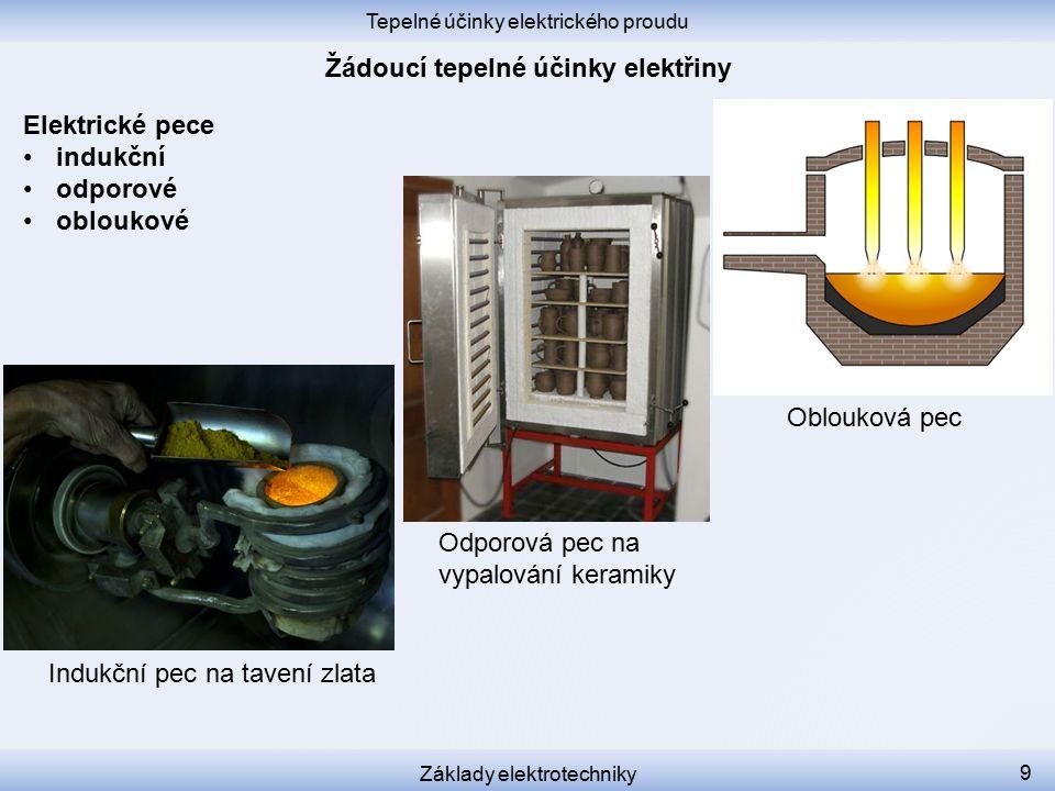 Tepelné účinky elektrického proudu Základy elektrotechniky 9 Elektrické pece indukční odporové obloukové Indukční pec na tavení zlata Oblouková pec Odporová pec na vypalování keramiky