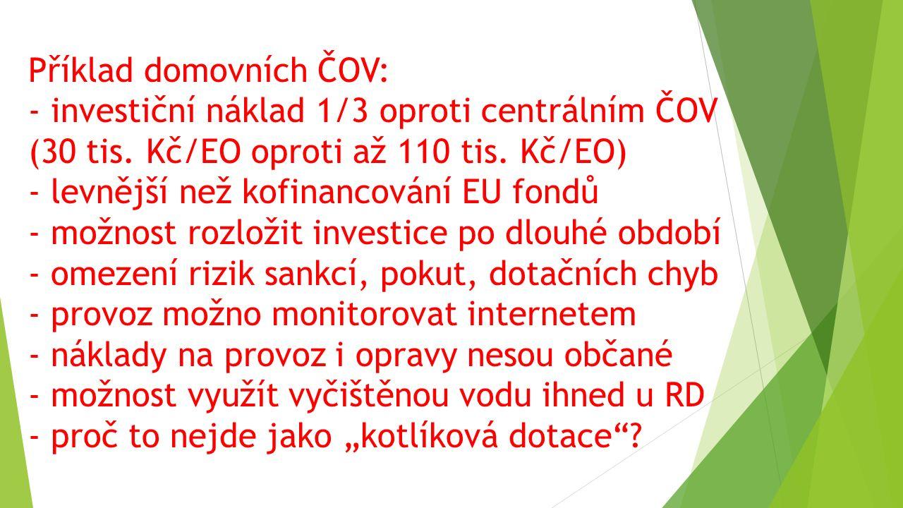 Příklad domovních ČOV: - investiční náklad 1/3 oproti centrálním ČOV (30 tis. Kč/EO oproti až 110 tis. Kč/EO) - levnější než kofinancování EU fondů -