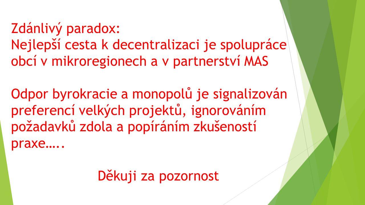 Zdánlivý paradox: Nejlepší cesta k decentralizaci je spolupráce obcí v mikroregionech a v partnerství MAS Odpor byrokracie a monopolů je signalizován preferencí velkých projektů, ignorováním požadavků zdola a popíráním zkušeností praxe…..