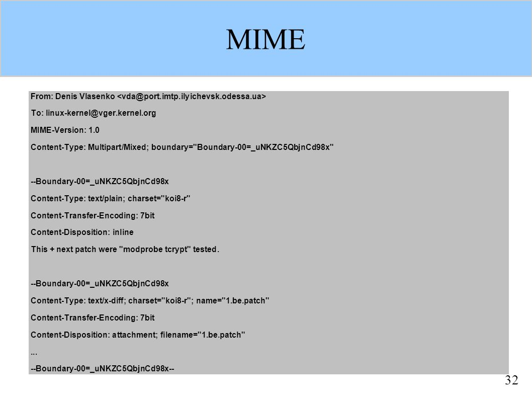 32 MIME From: Denis Vlasenko To: linux-kernel@vger.kernel.org MIME-Version: 1.0 Content-Type: Multipart/Mixed; boundary=