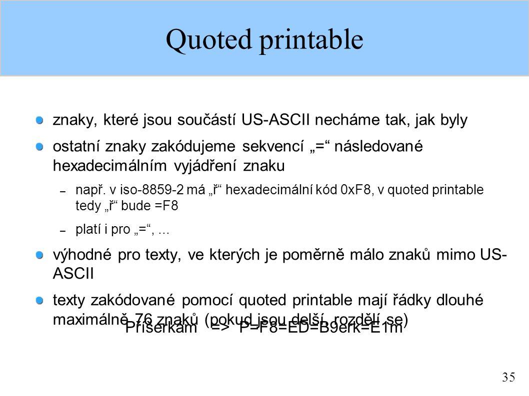 """35 Quoted printable znaky, které jsou součástí US-ASCII necháme tak, jak byly ostatní znaky zakódujeme sekvencí """"= následované hexadecimálním vyjádření znaku – např."""