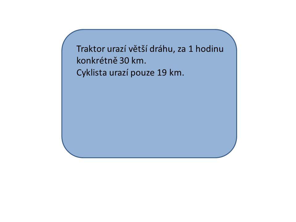 Traktor urazí větší dráhu, za 1 hodinu konkrétně 30 km. Cyklista urazí pouze 19 km.