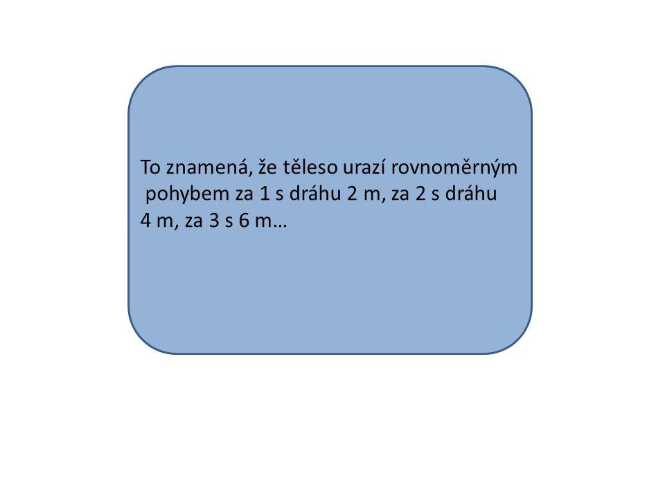 To znamená, že těleso urazí rovnoměrným pohybem za 1 s dráhu 2 m, za 2 s dráhu 4 m, za 3 s 6 m…
