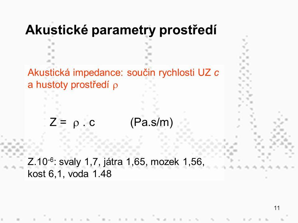 11 Akustická impedance: součin rychlosti UZ c a hustoty prostředí  Z = . c (Pa.s/m) Z.10 -6 : svaly 1,7, játra 1,65, mozek 1,56, kost 6,1, voda 1.48