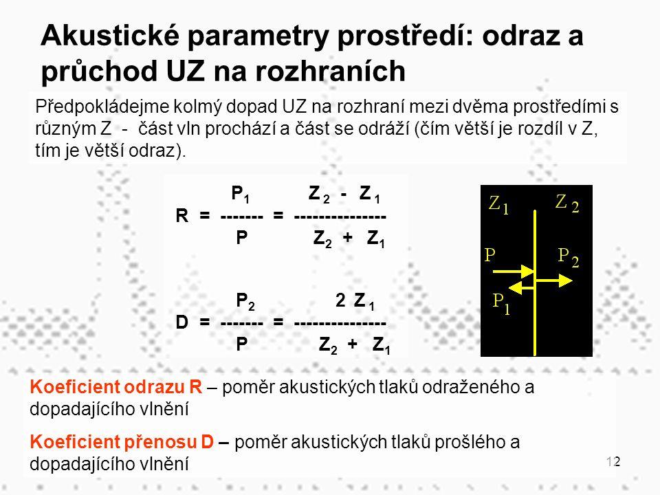 12 Předpokládejme kolmý dopad UZ na rozhraní mezi dvěma prostředími s různým Z - část vln prochází a část se odráží (čím větší je rozdíl v Z, tím je větší odraz).