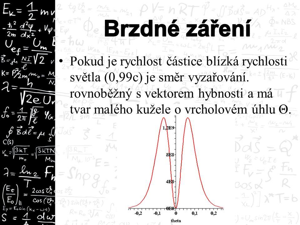 Pokud je rychlost částice blízká rychlosti světla (0,99c) je směr vyzařování. rovnoběžný s vektorem hybnosti a má tvar malého kužele o vrcholovém úhlu