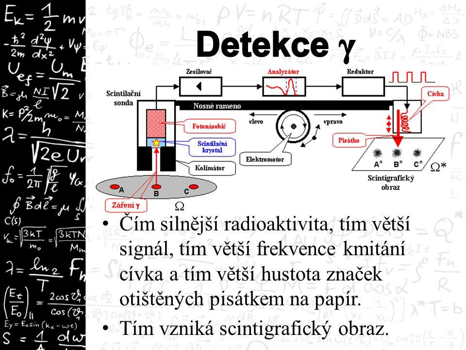 Čím silnější radioaktivita, tím větší signál, tím větší frekvence kmitání cívka a tím větší hustota značek otištěných pisátkem na papír. Tím vzniká sc