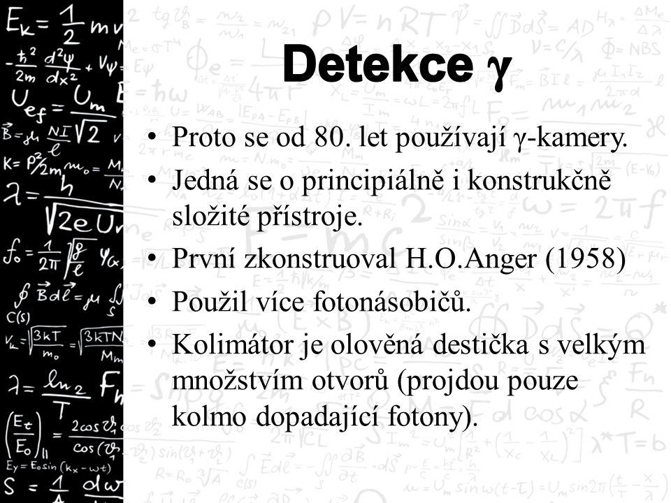 Proto se od 80. let používají γ-kamery. Jedná se o principiálně i konstrukčně složité přístroje. První zkonstruoval H.O.Anger (1958) Použil více foton