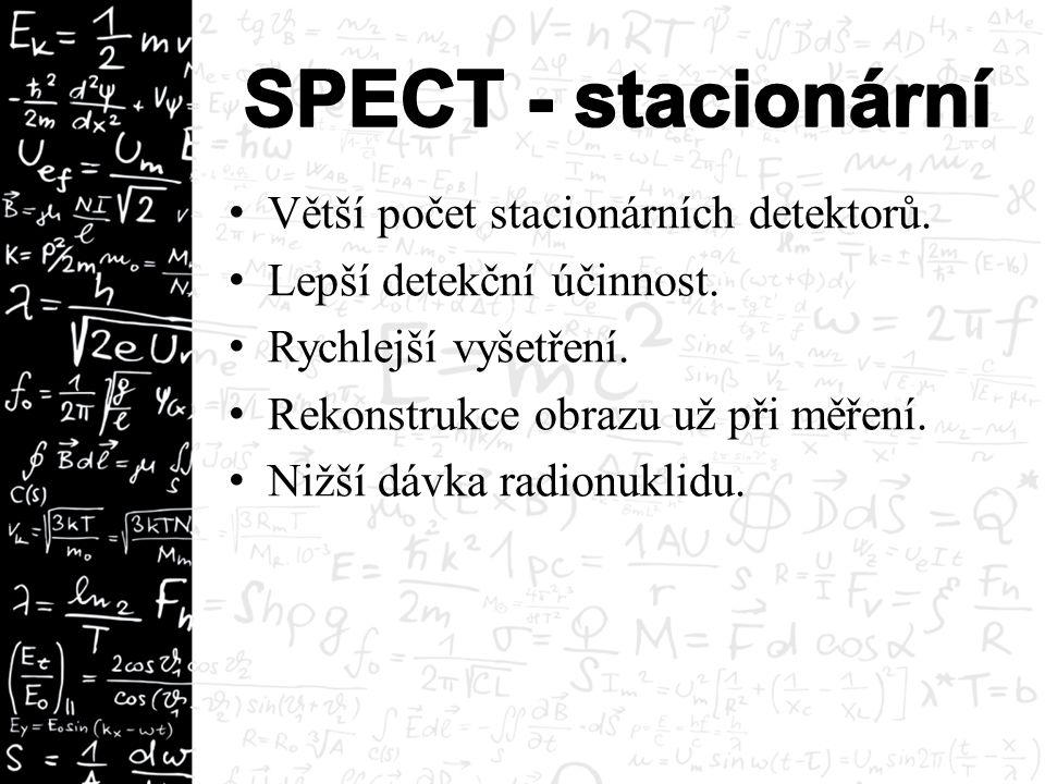 Větší počet stacionárních detektorů. Lepší detekční účinnost. Rychlejší vyšetření. Rekonstrukce obrazu už při měření. Nižší dávka radionuklidu.
