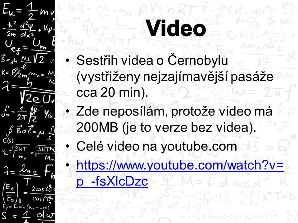 Sestřih videa o Černobylu (vystřiženy nejzajímavější pasáže cca 20 min). Zde neposílám, protože video má 200MB (je to verze bez videa). Celé video na