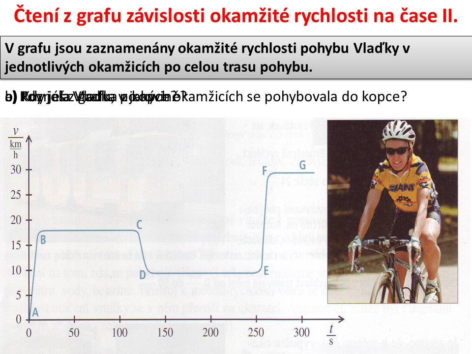 Čtení z grafu závislosti okamžité rychlosti na čase II.