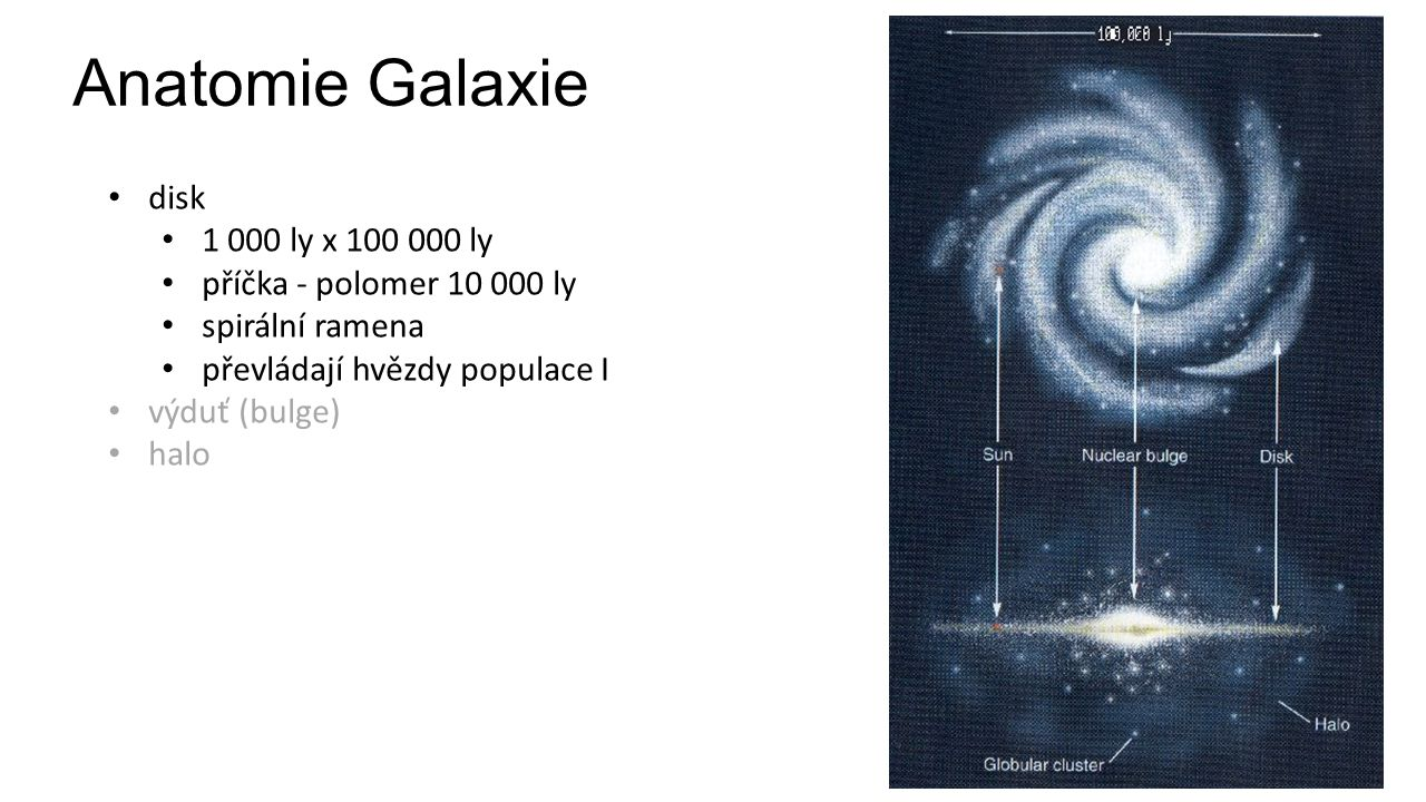 Anatomie Galaxie disk 1 000 ly x 100 000 ly příčka - polomer 10 000 ly spirální ramena převládají hvězdy populace I výduť (bulge) halo