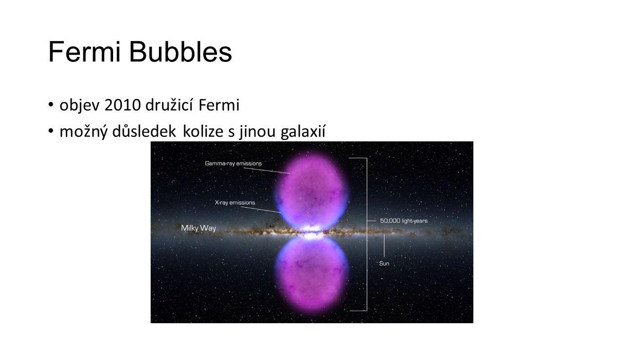 Fermi Bubbles objev 2010 družicí Fermi možný důsledek kolize s jinou galaxií