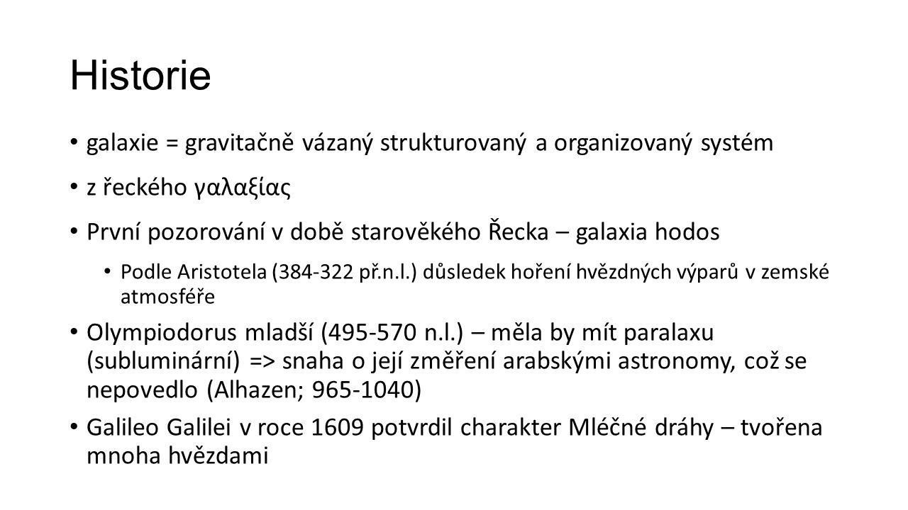 Historie galaxie = gravitačně vázaný strukturovaný a organizovaný systém z řeckého γαλαξίας První pozorování v době starověkého Řecka – galaxia hodos Podle Aristotela (384-322 př.n.l.) důsledek hoření hvězdných výparů v zemské atmosféře Olympiodorus mladší (495-570 n.l.) – měla by mít paralaxu (subluminární) => snaha o její změření arabskými astronomy, což se nepovedlo (Alhazen; 965-1040) Galileo Galilei v roce 1609 potvrdil charakter Mléčné dráhy – tvořena mnoha hvězdami