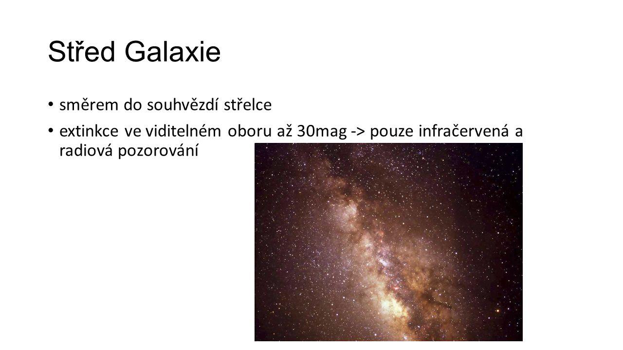 Střed Galaxie směrem do souhvězdí střelce extinkce ve viditelném oboru až 30mag -> pouze infračervená a radiová pozorování