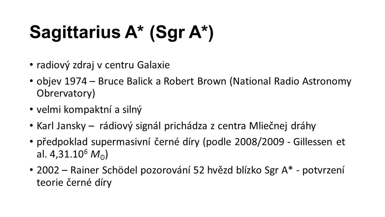 Sagittarius A* (Sgr A*) radiový zdraj v centru Galaxie objev 1974 – Bruce Balick a Robert Brown (National Radio Astronomy Obrervatory) velmi kompaktní a silný Karl Jansky – rádiový signál prichádza z centra Mliečnej dráhy předpoklad supermasivní černé díry (podle 2008/2009 - Gillessen et al.